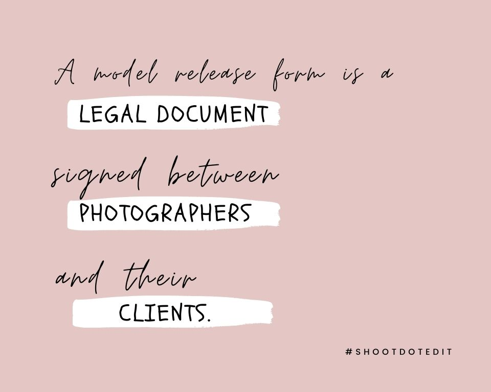 Infographic stating a model release form is a legal document signed between photographers and their clients