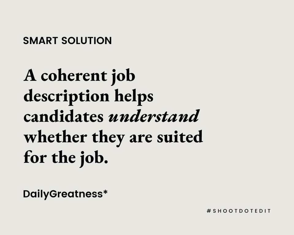 Infographic stating a coherent job description helps candidates understand whether they are suited for the job