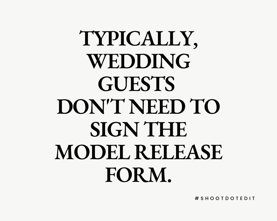 Infographic stating typically wedding guests do not need to sign the model release form