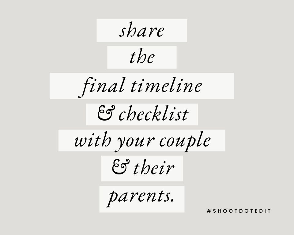 Infographic stating share the final timeline & checklist with your couple & their parents