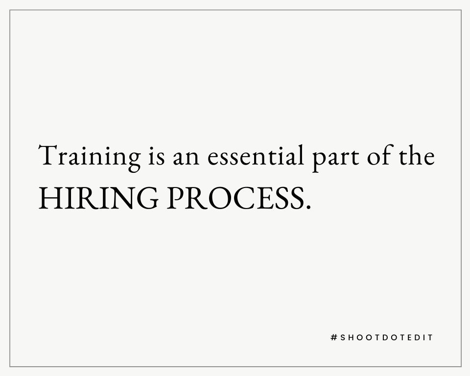 Infographic stating training is an essential part of the hiring process