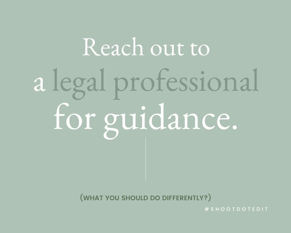 Infographic stating reach out to a legal professional for guidance