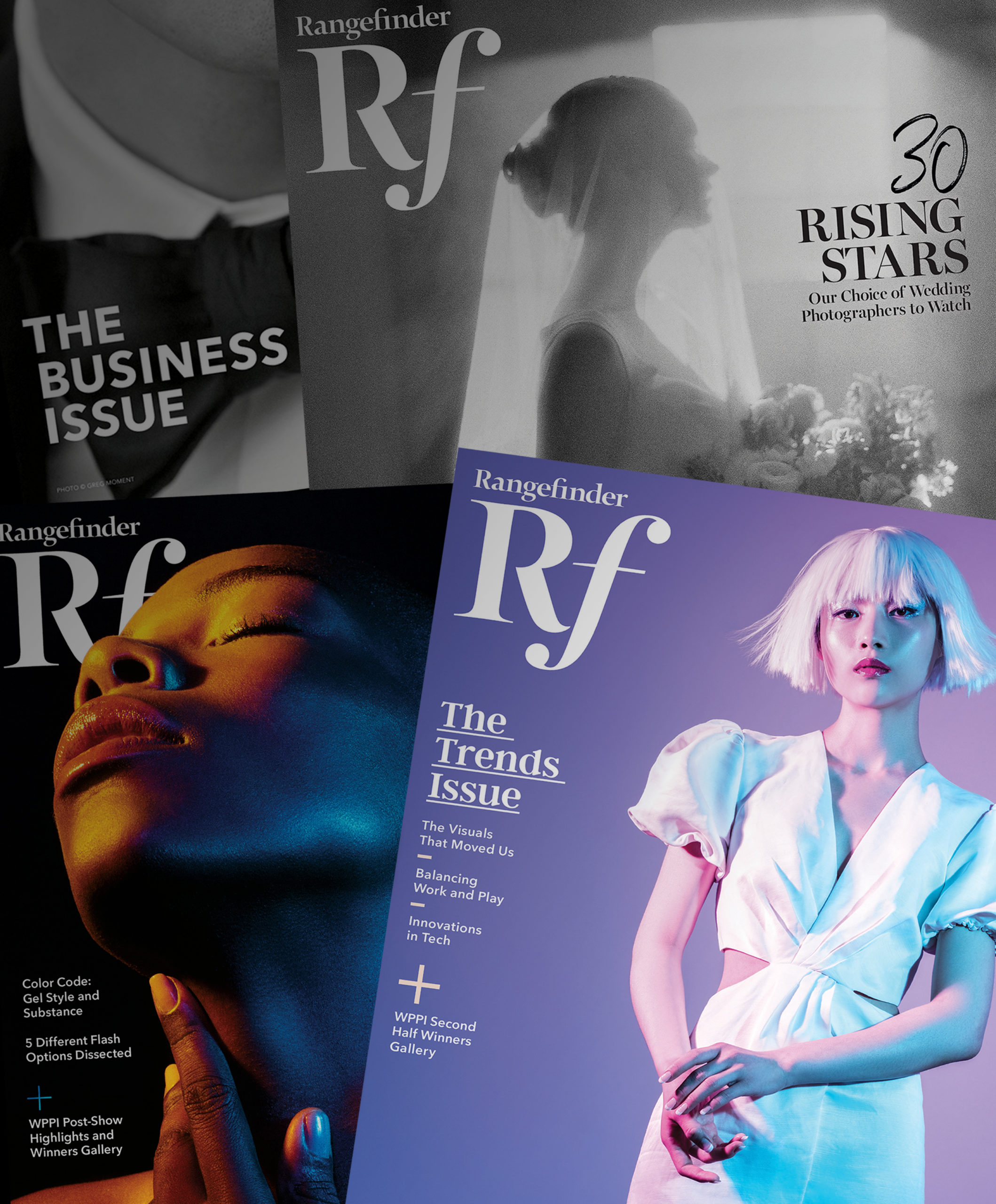 Collage of Rangefinder magazine covers of the trend issue, 30 rising stars, the business issue, and the winner gallery