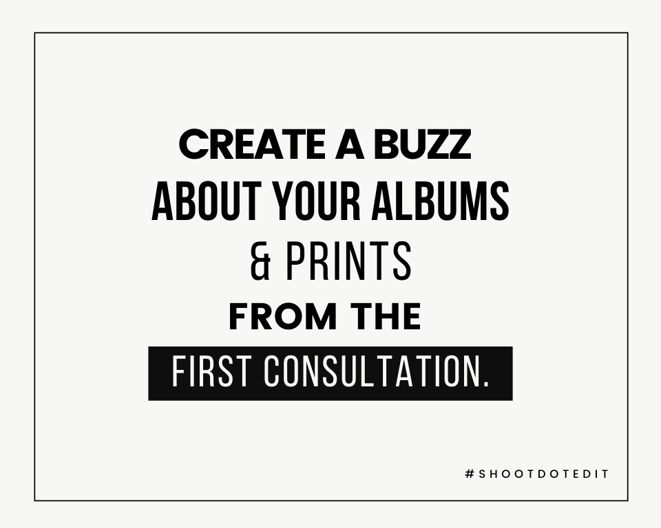 Infographic stating create a buzz about your albums and prints from the first consultation