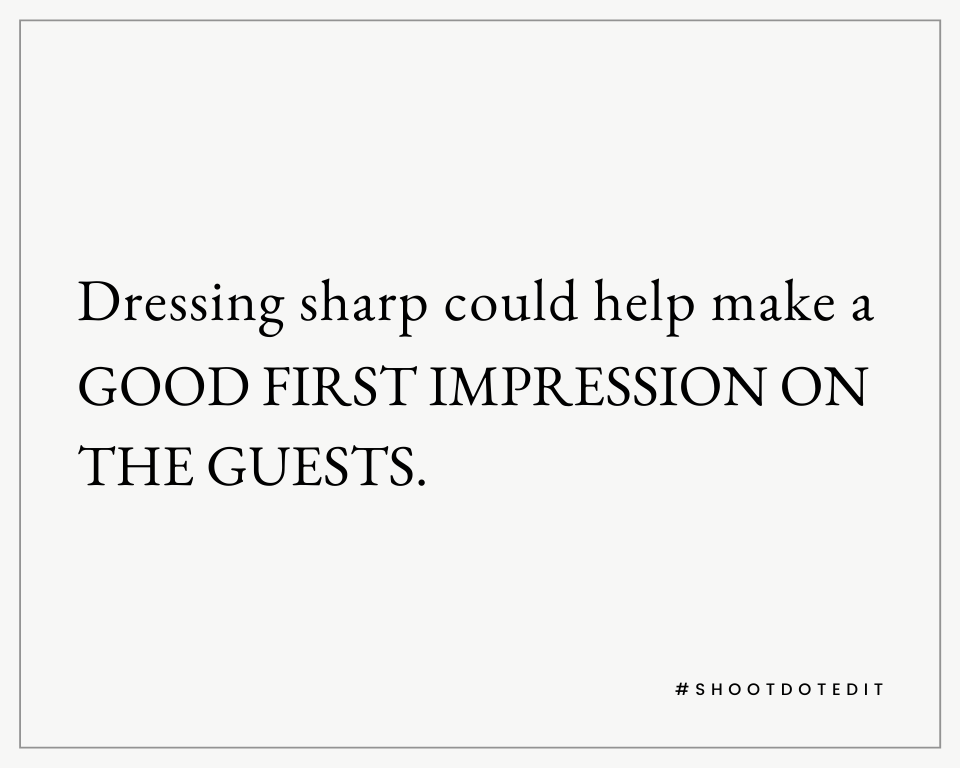 Infographic stating dressing sharp could help make a good first impression on the guests