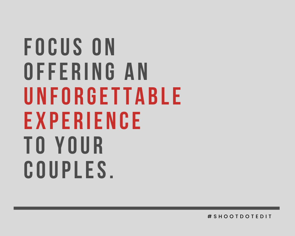 Infographic stating focus on offering an unforgettable experience to your couples