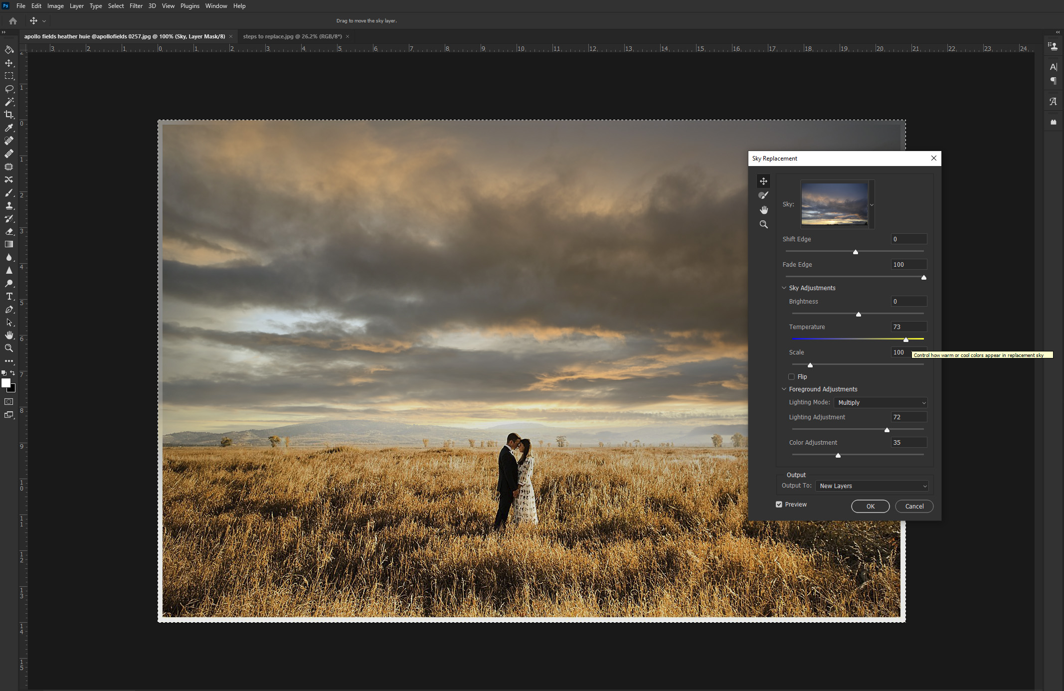 Adjusting temperature on sunset sky of an image in Photoshop