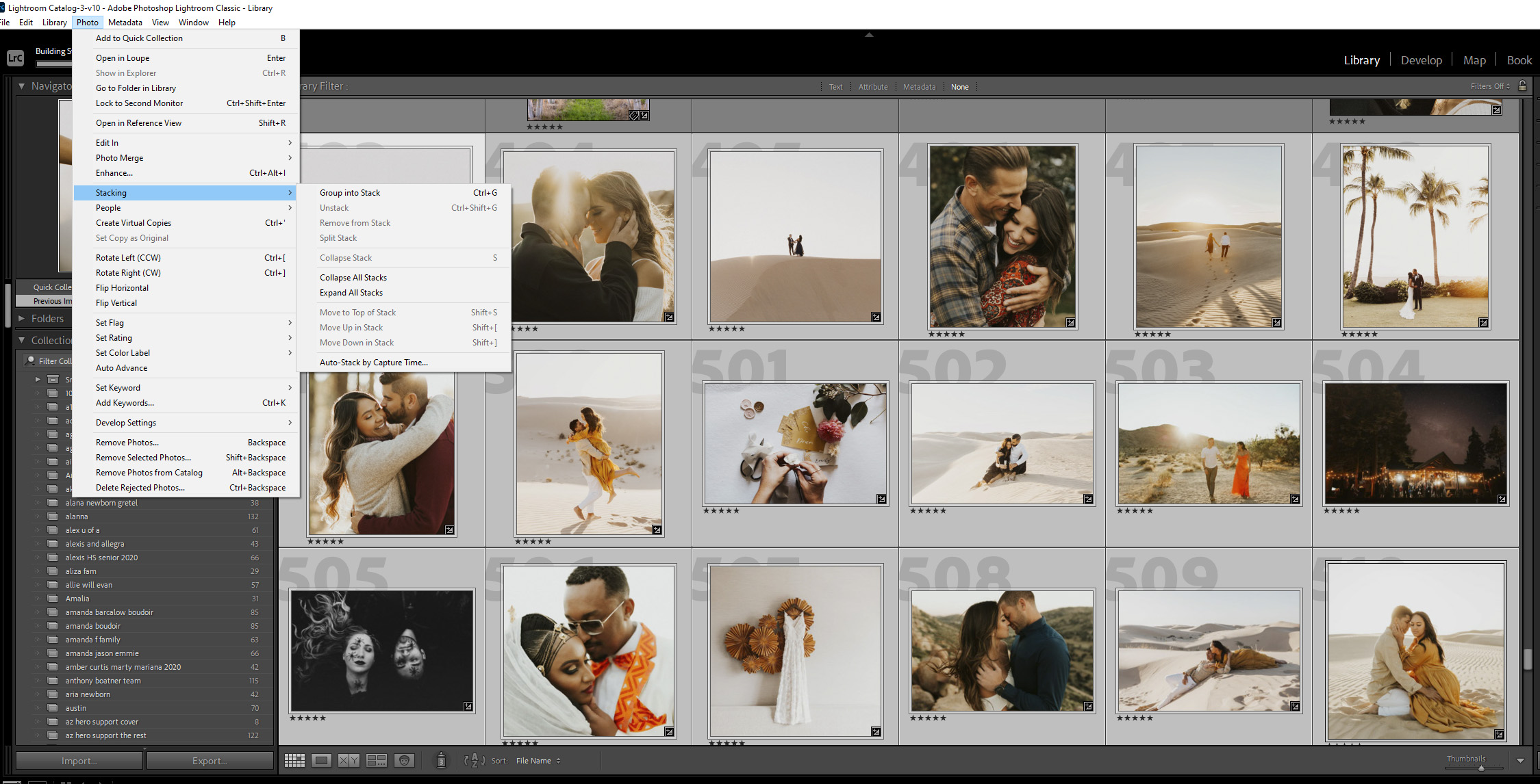Steps to stack photos in Lightroom