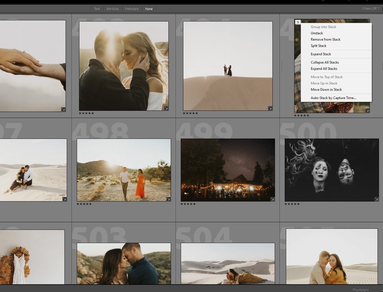 Expand stack and collapse stack in Lightroom