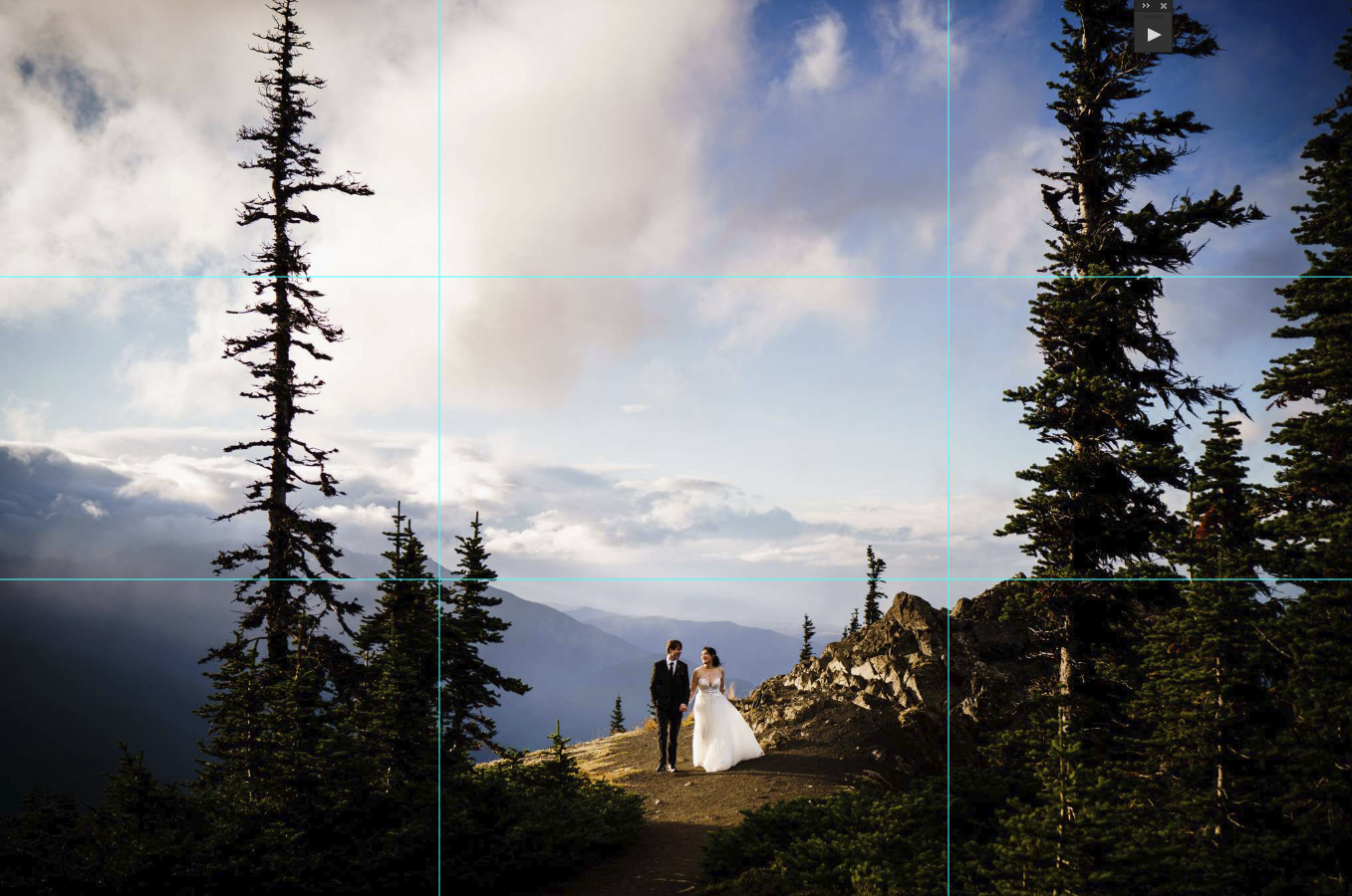 A 3 by 3 camera grid is visible on the image where a bride and groom holds hands with cloud-covered mountain peaks at the background
