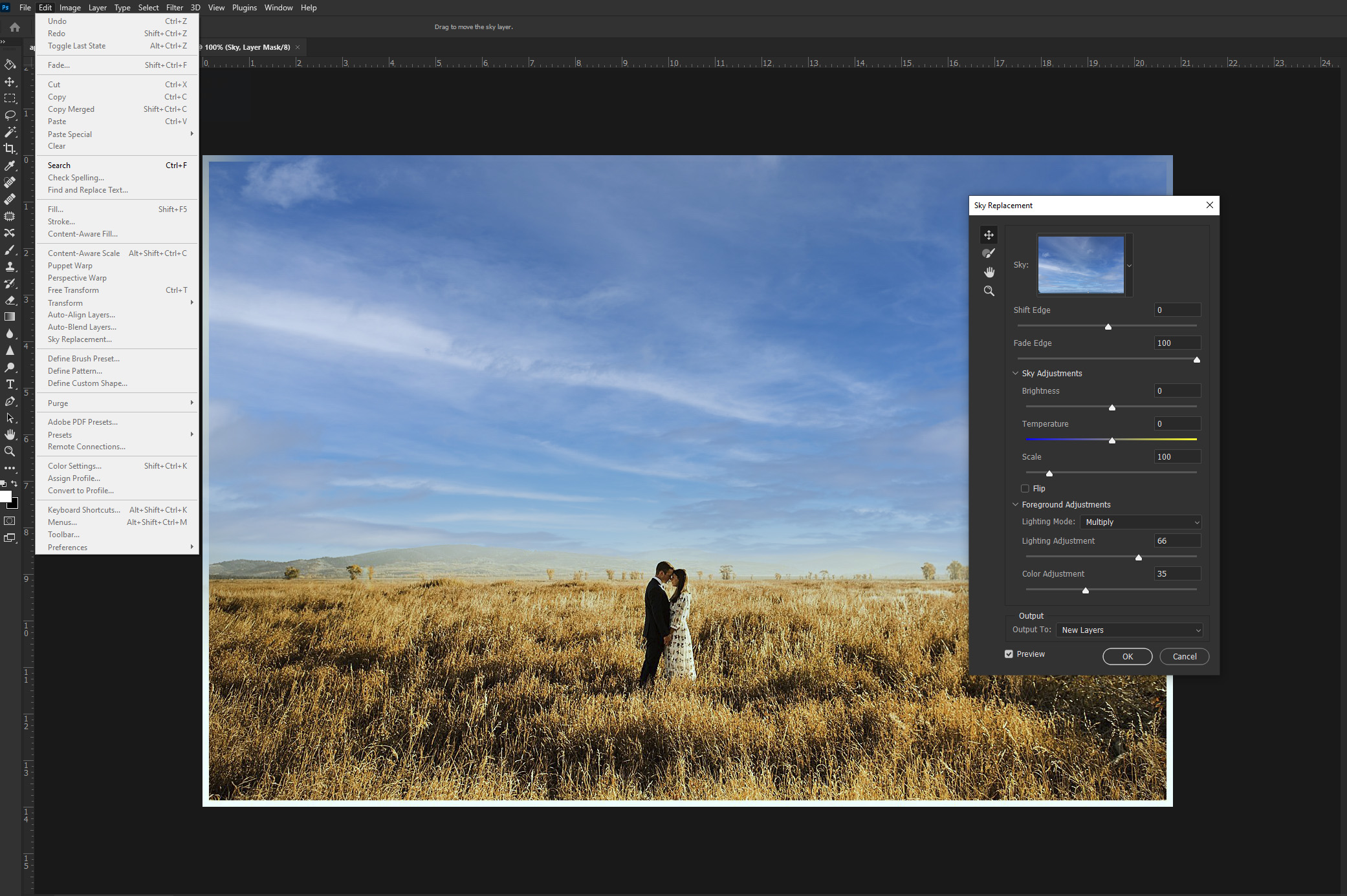 Using sky replacement tool in Photoshop