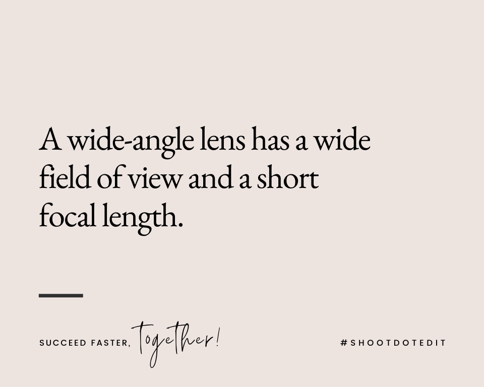 Infographic stating a wide-angle lens has a wide field of view and a short focal length