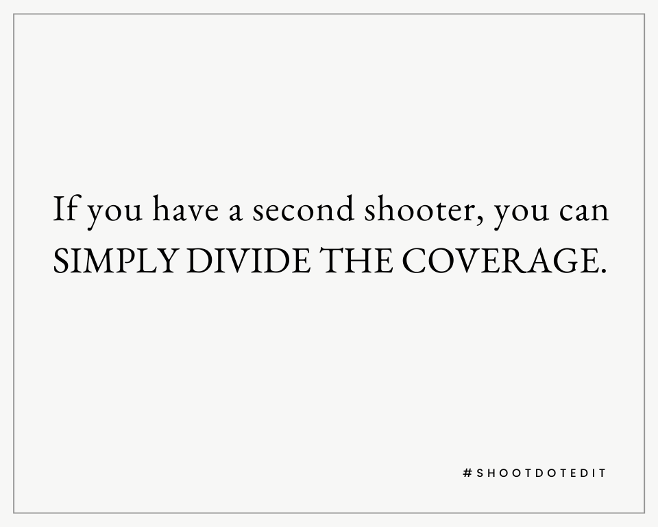 Infographic stating if you have a second shooter, you can simply divide the coverage