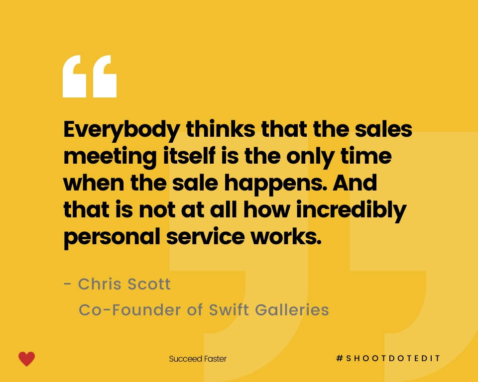 Infographic stating everybody thinks that the sales meeting itself is the only time when the sale happens. And that is not at all how incredibly personal service works