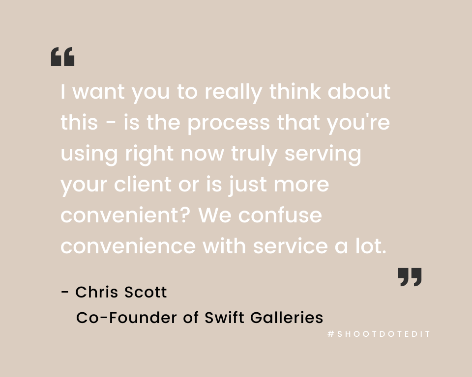 Infographic stating I want you to really think about this - is the process that you're using right now truly serving your client or is just more convenient? We confuse convenience with service a lot