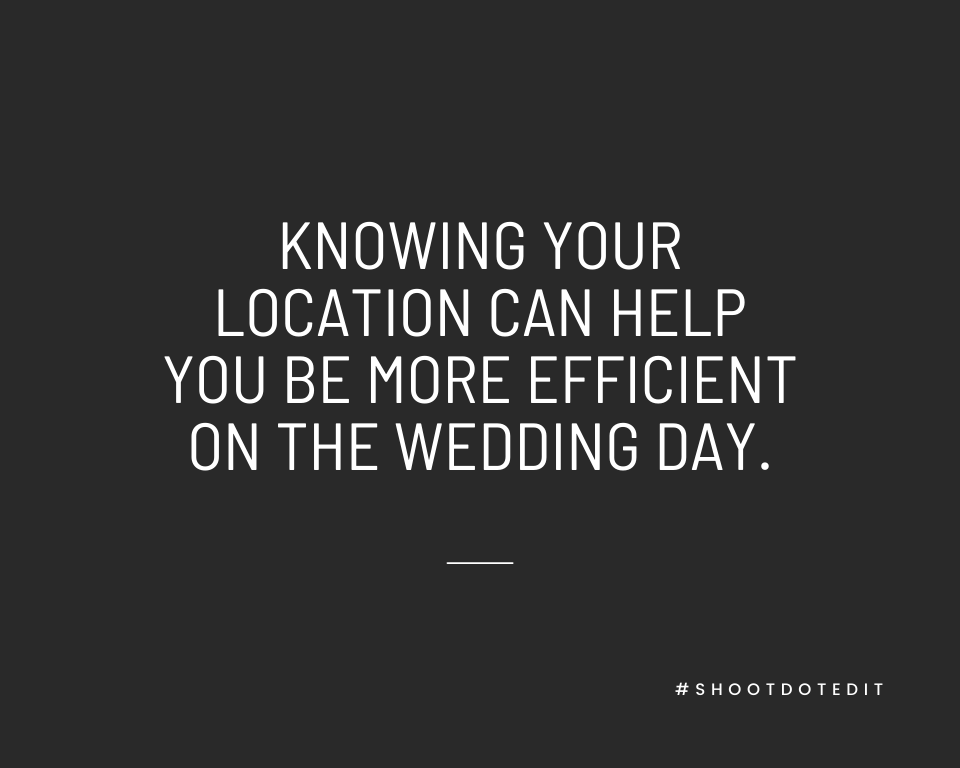 Infographic stating knowing your location can help you be more efficient on the wedding day