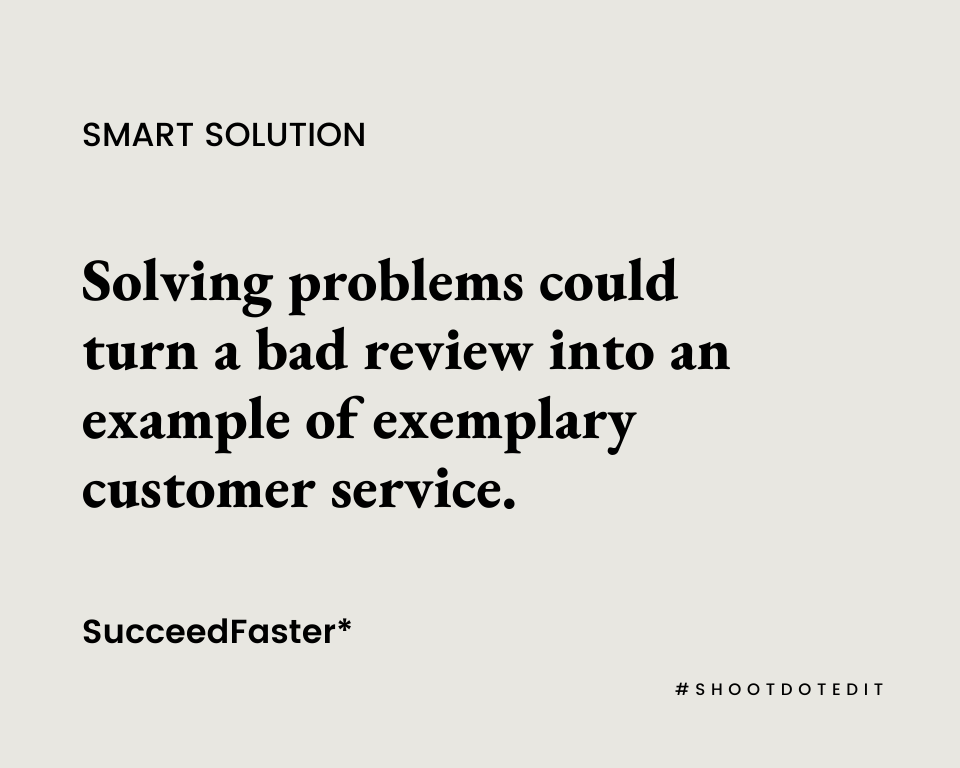 Infographic stating solving problems could turn a bad review into an example of exemplary customer service