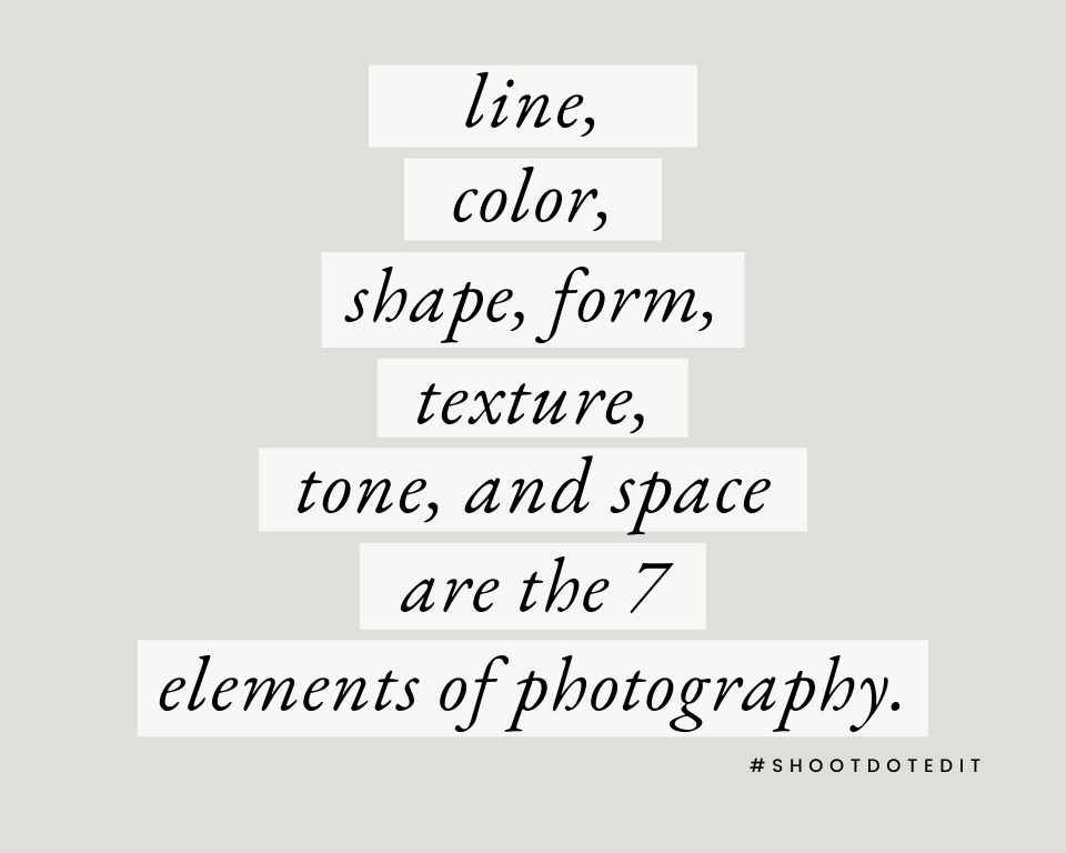 Infographic stating line, color, shape, form, texture, tone, and space are the 7 elements of photography