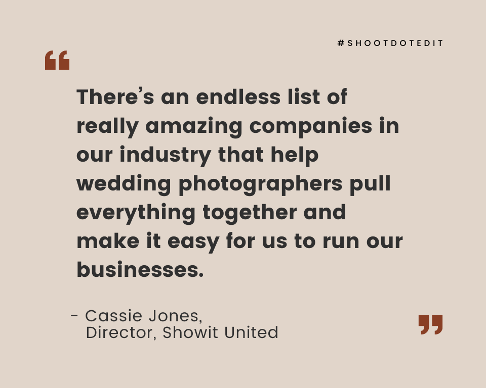 Infographic stating there's an endless list of really amazing companies in our industry that help wedding photographers pull everything together and make it easy for us to run our businesses
