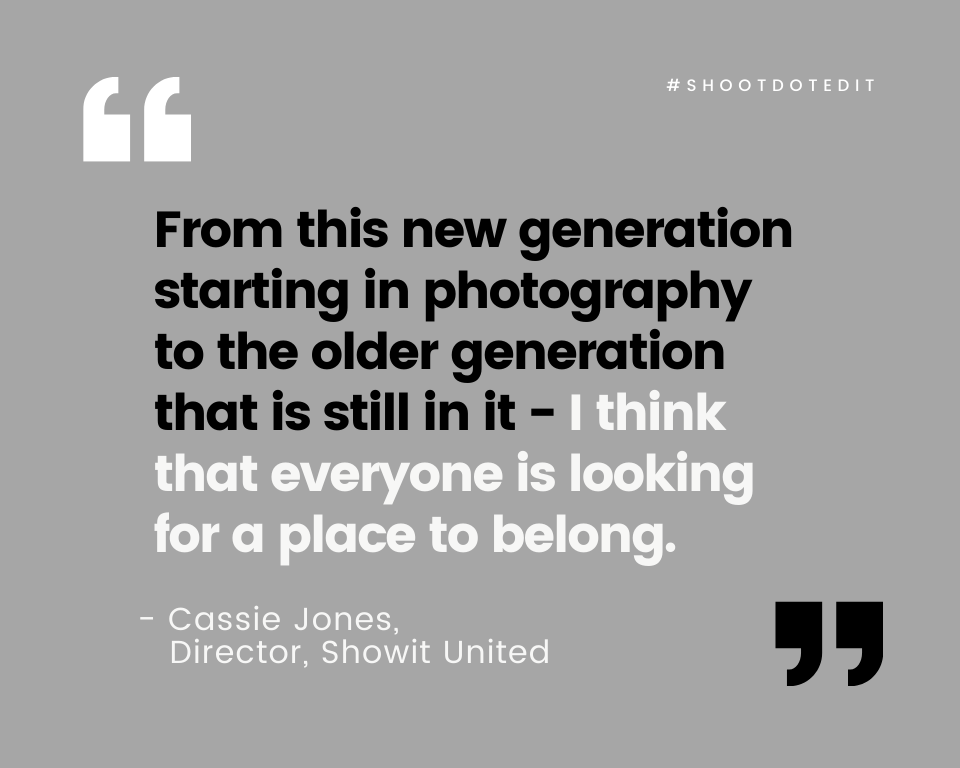 Infographic stating from this new generation starting in photography to the older generation that is still in it - I think that everyone is looking for a place to belong