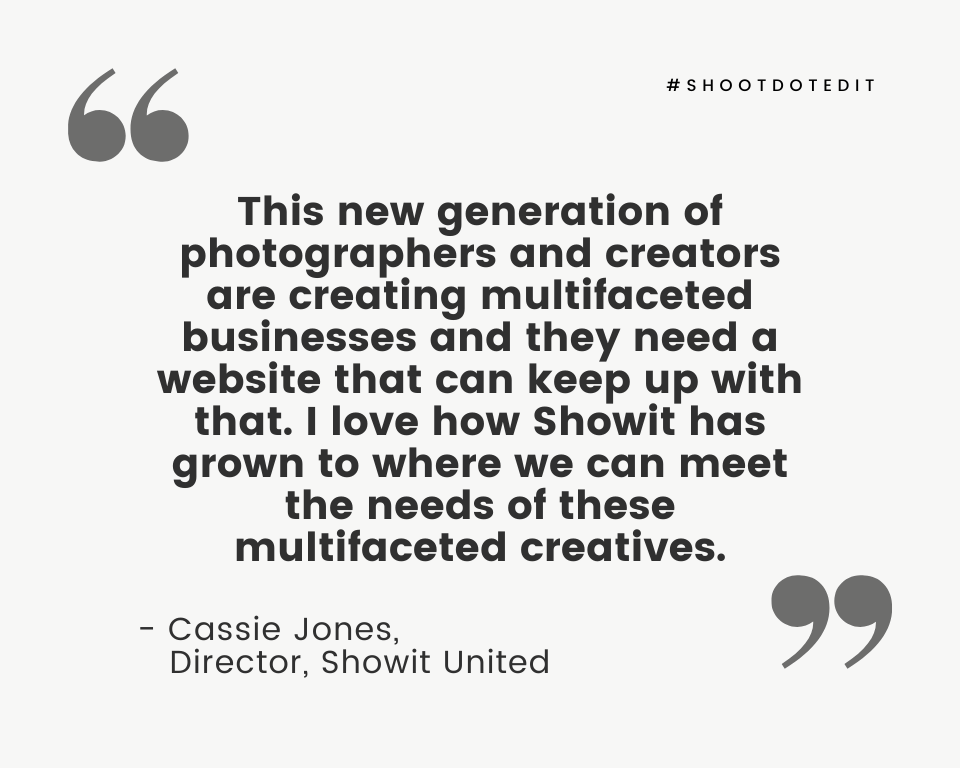 Infographic stating this new generation of photographers and creators are creating multifaceted businesses and they need a website that can keep up with that.  I love how Showit has grown to where we can meet the needs of these multifaceted creatives