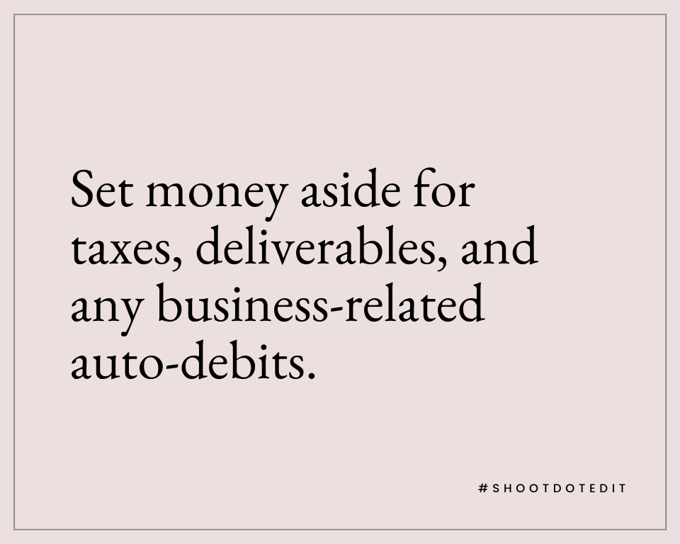 Infographic stating set money aside for taxes, deliverables, and any business-related auto-debits