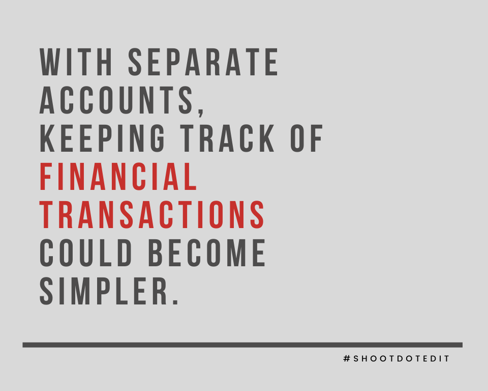 Infographic stating with separate accounts, keeping track of financial transactions could become simpler