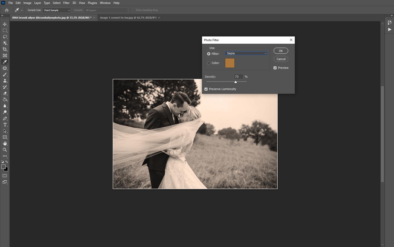 Applying sepia filter