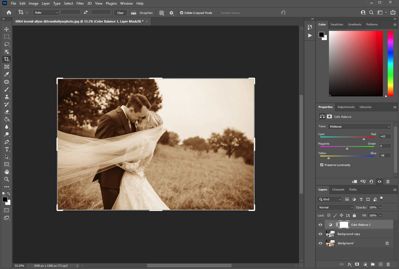 Getting sepia effect using the color balance adjustment layer