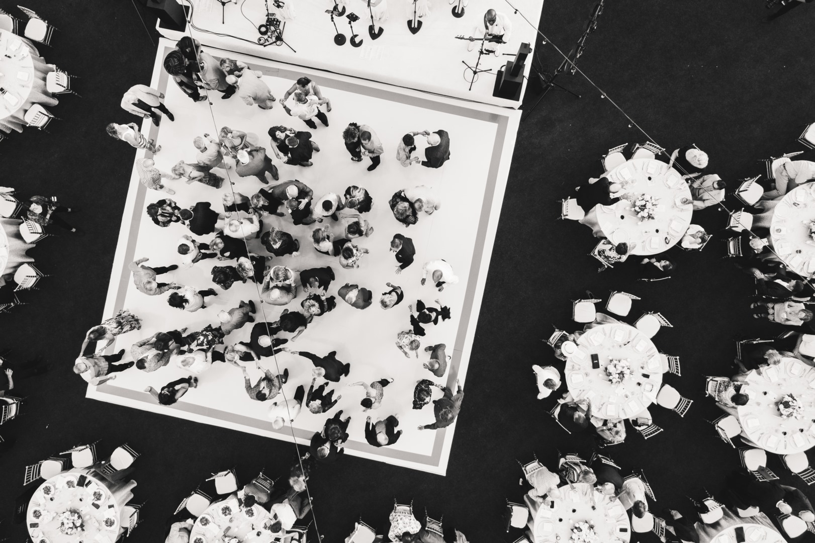 Aerial photograph of a dance floor during the wedding reception