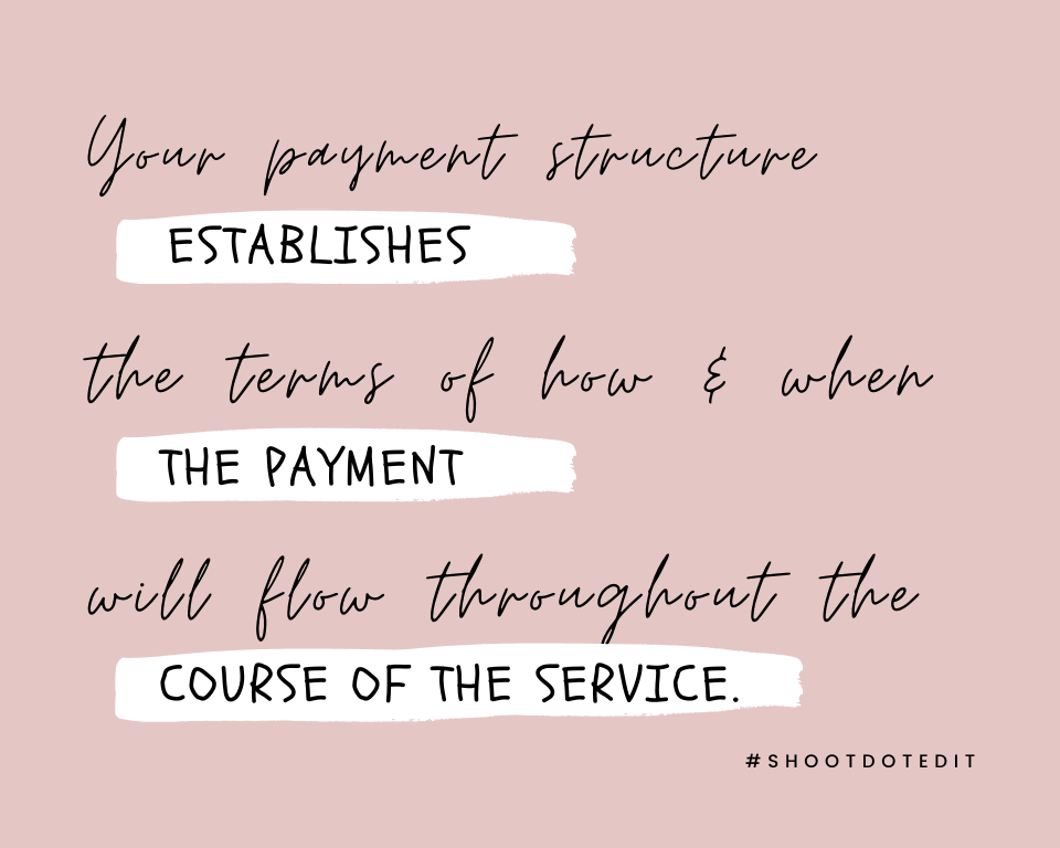 Infographic stating your payment structure establishes the terms of how and when the payment will flow throughout the course of the service