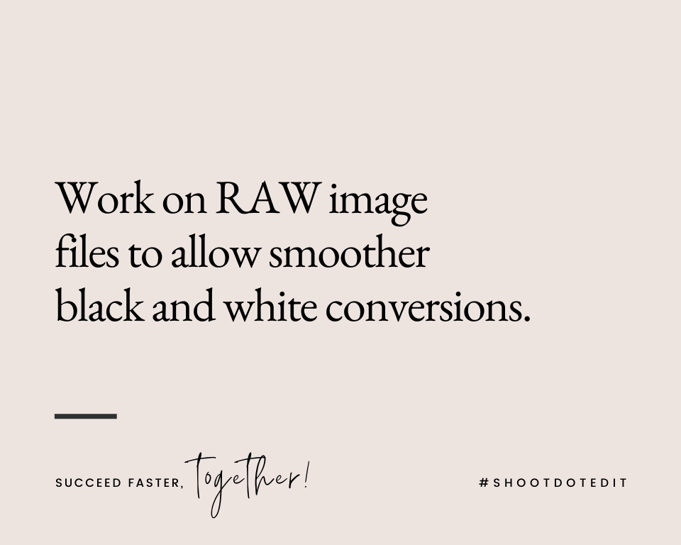 Infographic stating work on RAW image files to allow smoother black-and-white conversions
