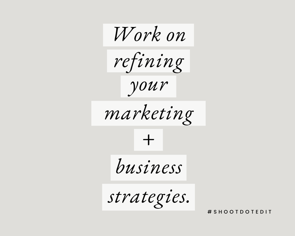 Infographic stating work on refining your marketing and business strategies