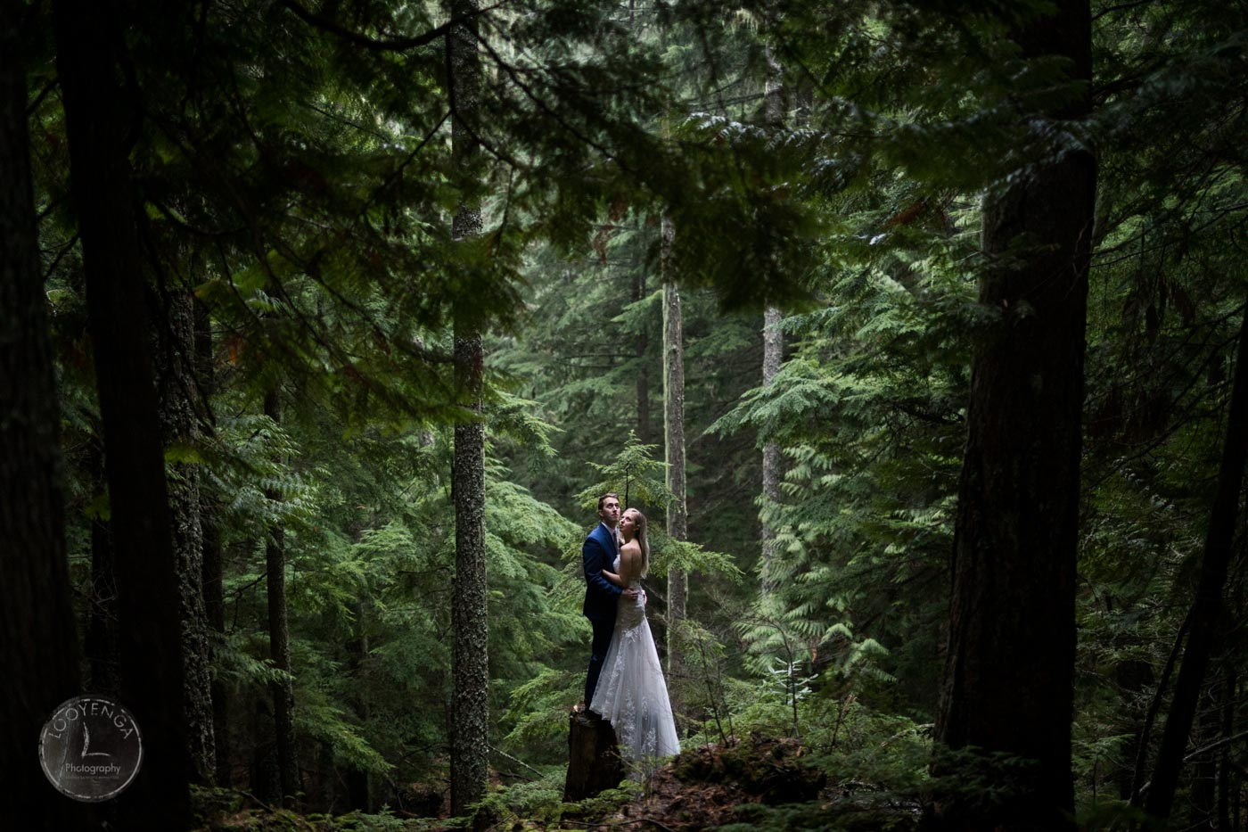A bride and groom holding each other for a pose amidst a forest