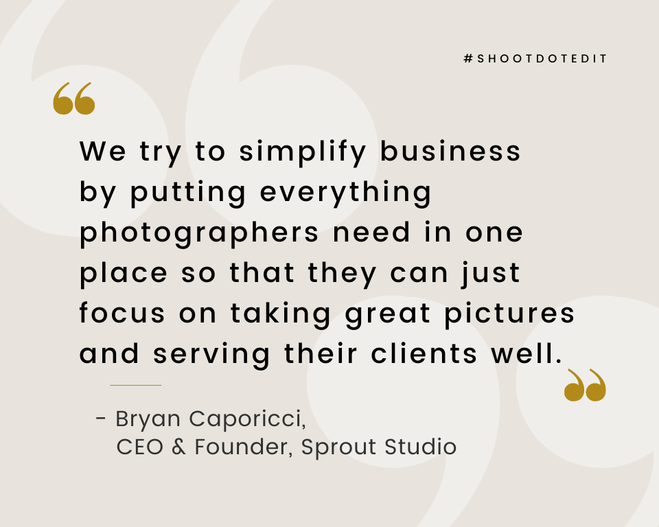 Infographic stating we try to simplify business by putting everything photographers need in one place so that they can just focus on taking great pictures and serving their clients well