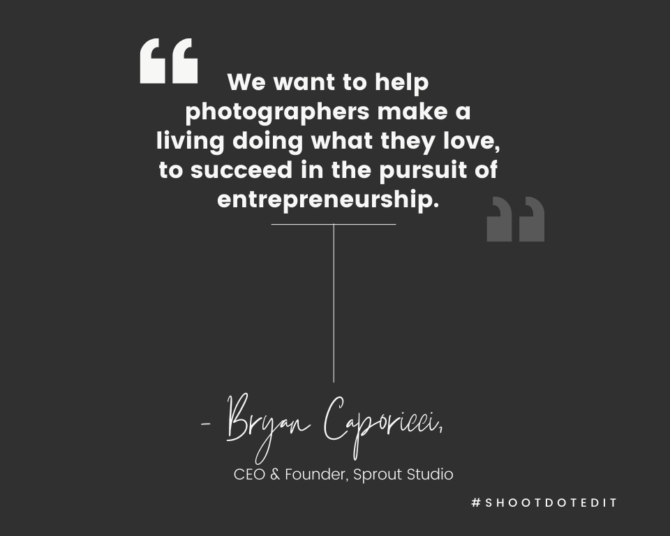 Infographic stating we want to help photographers make a living doing what they love, to succeed in the pursuit of entrepreneurship.