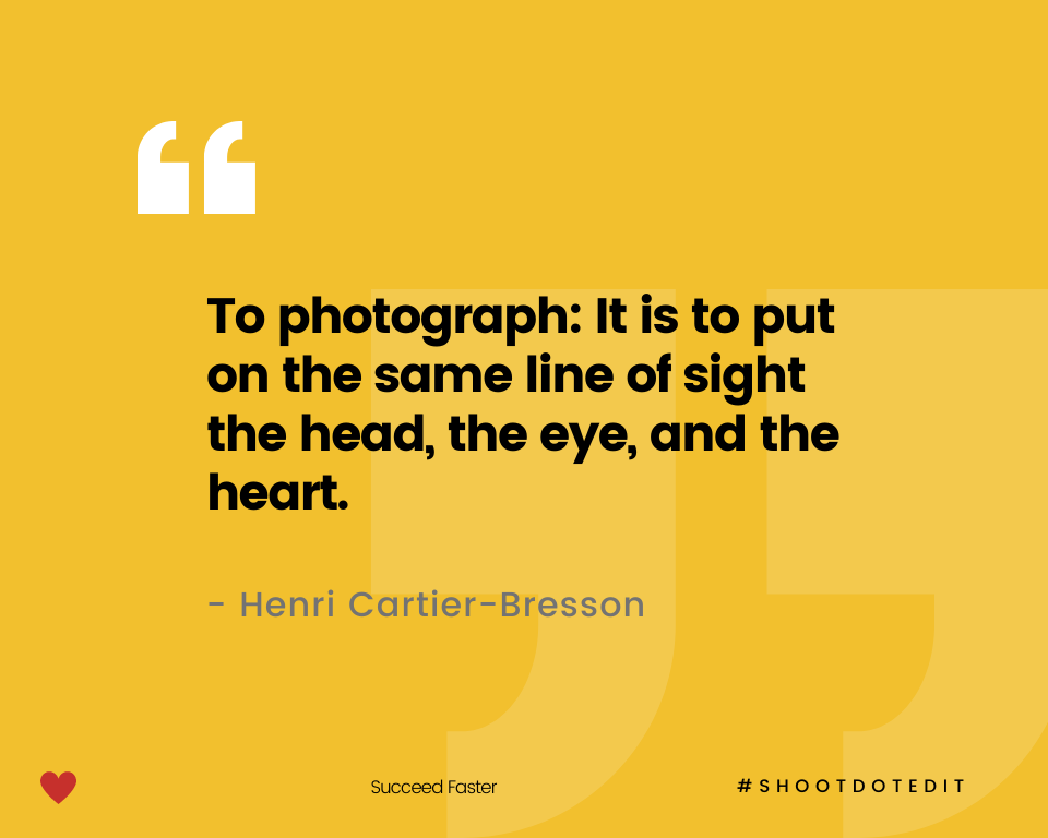 Infographic stating to photograph: It is to put on the same line of sight the head, the eye, and the heart