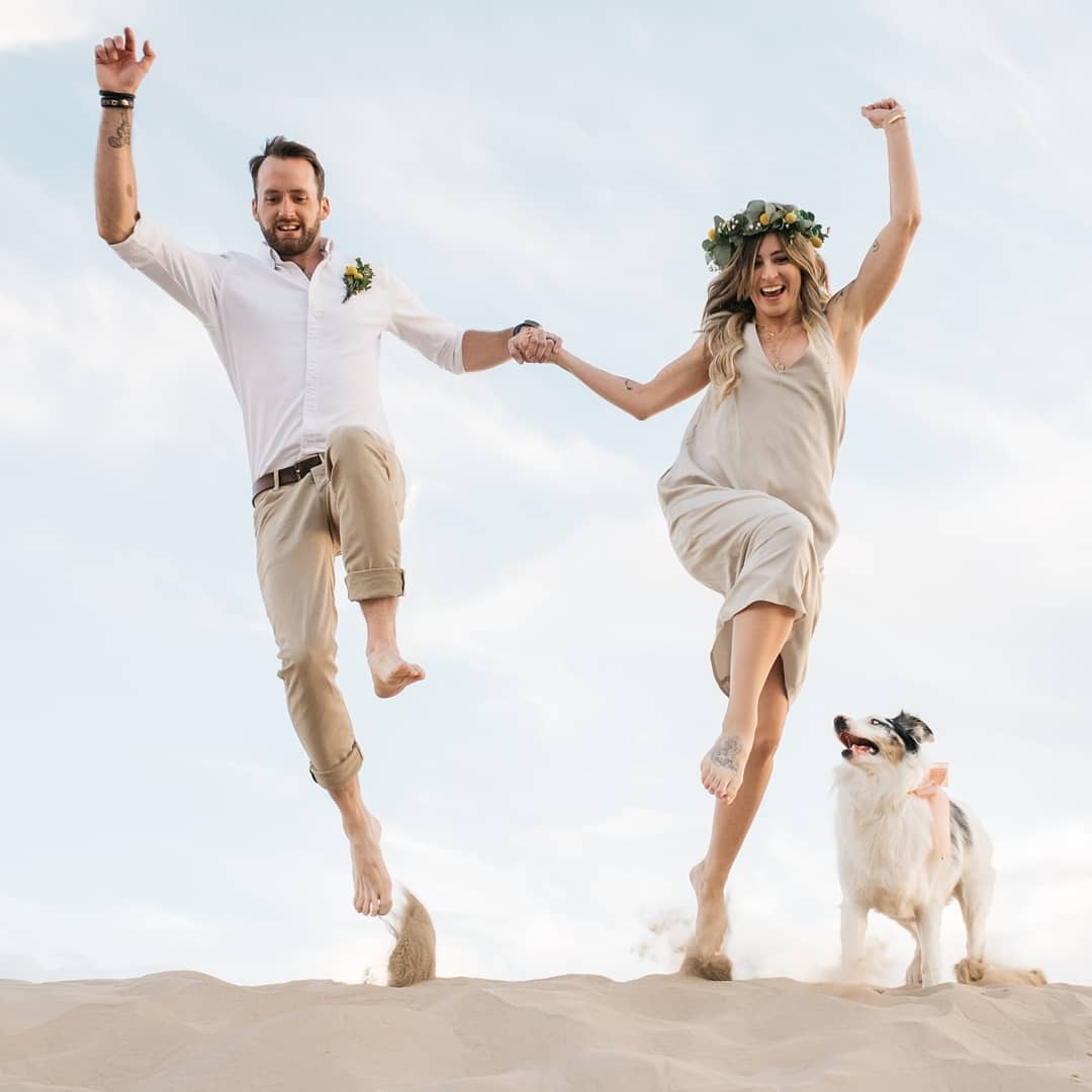 Low-angle shot of a bride and groom jumping with a dog at the side